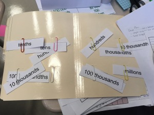 sorting words for place value